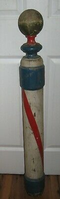Antique Early 1900s Wood Carved Barbers Pole Rare Original Vintage Authentic