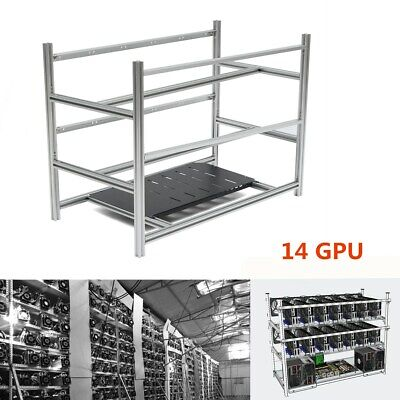 14 GPU Open Air Mining Rig Stackable Frame Case For ETH BTC Ethereum Crypto Coin