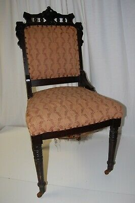Antique slipper chair straight back cloth upholstered seat & back gothic style?