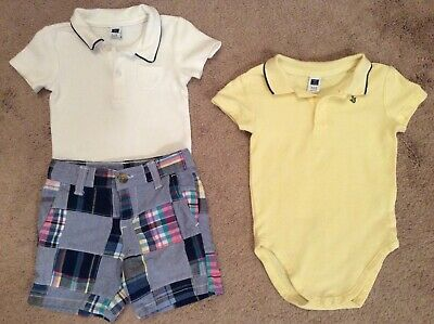 Baby Boys JANIE and JACK Polo Shirt and Plaid Shorts Outfit Set Size 6-12 Months