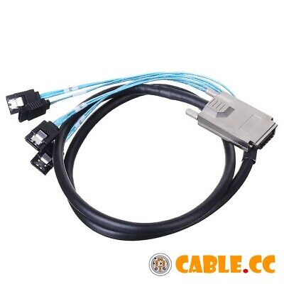 SFF-8470 Infiniband SAS Host to 4 SATA 7pin Hard Disk Target Fanout Cable 1m USA