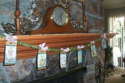 Primitive Easter Bunny Garland Banner Swag Glittered Hang Tags On Vintage Tinsel
