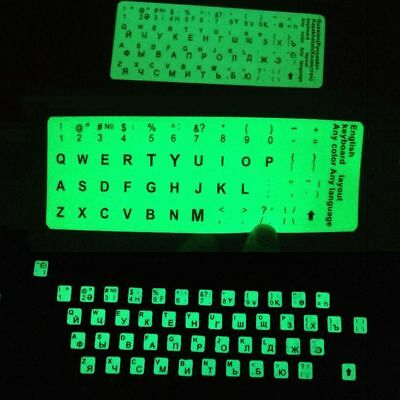 Fluorescent Luminous Waterproof English Russian Language Keyboard Sticker Laptop