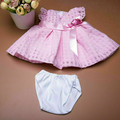 "Handmade Pink Plaid Bowknot Dress Briefs Set Doll Clothes pref For18"" Girl J0A1"
