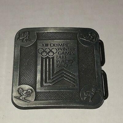 VINTAGE XII Olympic Winter Games Lake Placid 1980 belt buckle ** FREE SHIPPING