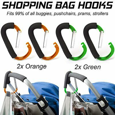 Buggy Clips Coloured Large Pram Pushchair Shopping Bag Hook Mummy Carry Clip x2