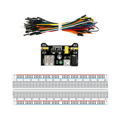830 Point Solderless Breadboard 65Pcs Jumper Cable MB-102 Power Supply Module l