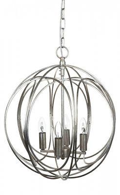 Antique silver large pendant chandelier spherical frame with 4 light fittings