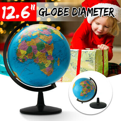 32CM Rotating Science Earth Globe World Map +Swivel Stand Geography Educational