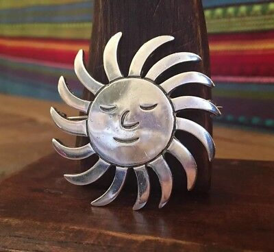 Vintage Sterling Silver Taxco Mexico Huge Smiling Sun Brooch (18g)
