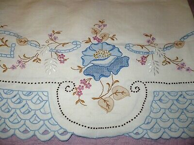 """Amazing Elaborately Embroidered & Cutwork Colored Madeira Tablecloth 117 x 64"""""""