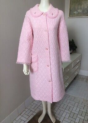Original Vintage 60s Dressing Gown Robe, House Coat,Ruffle Trim,Pinup Rockabilly