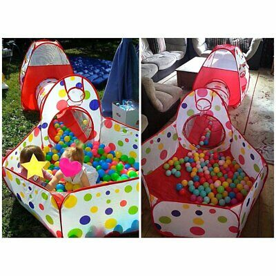 UK Portable 3 in 1 Childrens Kids Baby Play Tent Ball Pit Playhouse Pop Up