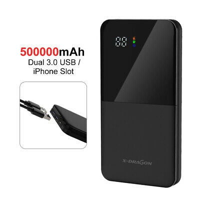 500000mAh External Charger Power Bank Portable LCD 2USB Battery Type-C For Phone