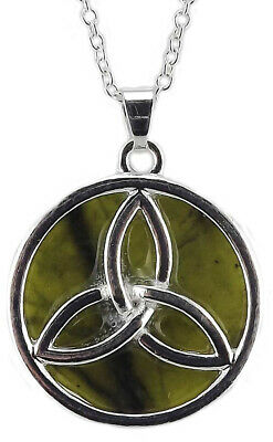 Hallmarked Sterling Silver & Connemara Marble Pendant With Reversible Trinity Kn