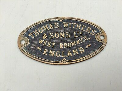 safe plaque vintage Thomas Withers & Sons Ltd  safe plaque  Antique Safe Plaque