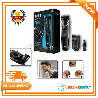 Braun Beard Trimmer, Cordless Rechargeable Shaver With Adjustable Length BT3020