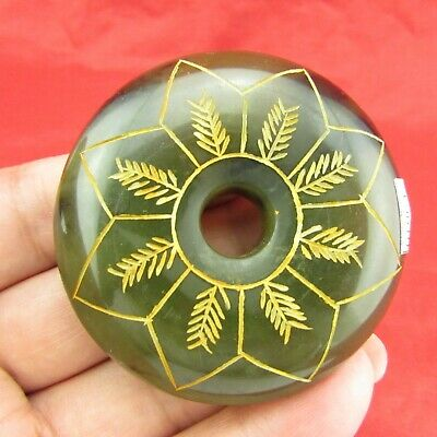 Chinese old jade hand-carved Beautiful embossed jade pendant amulet D1064