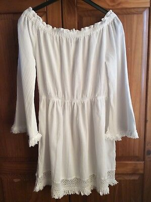 Boohoo - White off the shoulder flared tasseled sleeved cotton dress - 4 UK