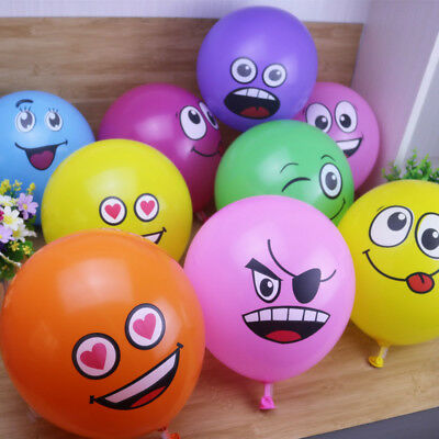 "10pcs/Lot 12"" Latex Balloons Printed Big Eyes Smiley Happy Birthday Party Decor"
