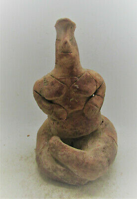Scarce Circa 6100-5400Bce Ancient Tel Halaf Terracotta Fertility Idol
