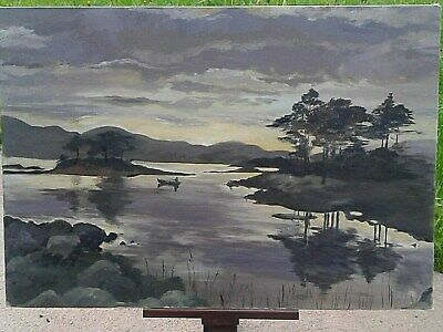 Antique Style Nocturnal Painting Landscape Fishing Boats Seascape