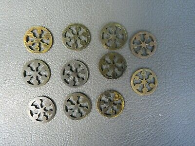Antique writing slope box ornate brass inlay pierced discs spares parts