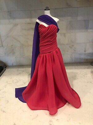 Franklin Mint Princess Diana Fuscha Gown With Attached Purple Long Scarf