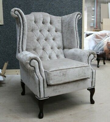 Georgian Chesterfield Queen Anne High Back Wing Chair Hessian Mink Velvet