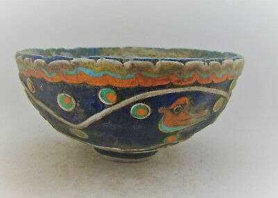 Beautiful Ancient Phoenician Mosiac Glass Bowl With Bird Motif 1000-500Bce