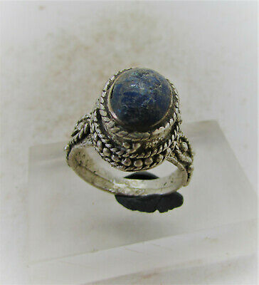 Superb Late Medieval Islamic Silver Ring With Lapis Lazuli Stone Insert