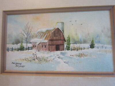 SUZANNE BRYMER original signed watercolor painting, framed Barn in Snow