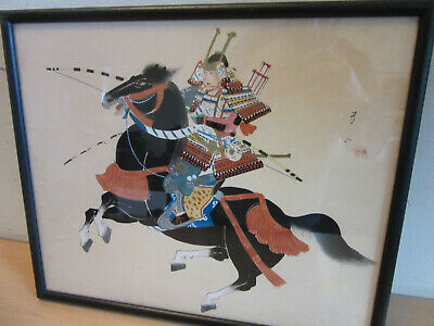 Vintage Signed Japanese painting on Silk Samurai with Bow on Horse FRAMED