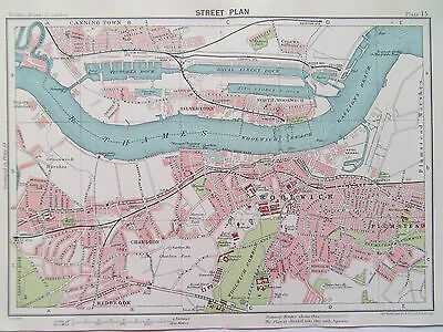 LONDON-WOOLWICH-CHARLTON-CANNING TOWN-DOCKS-BARTHOLOMEWS MAP 9inx 6in DATE1929