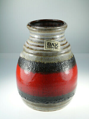 Bay Keramik Vase West Germany Pottery 630 14 Fat Lava Rot Braun ca.14cm