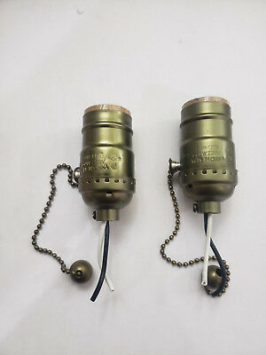 (2) Antique Brass Pull Chain Lamp Socket