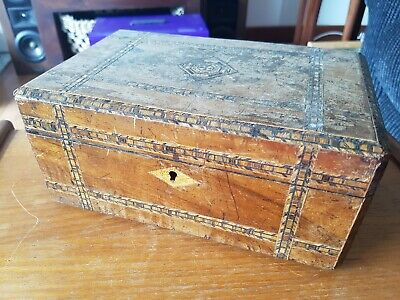 Antique Wooden Storage Box with Micro Mosaic Inlaid Marquetry Design
