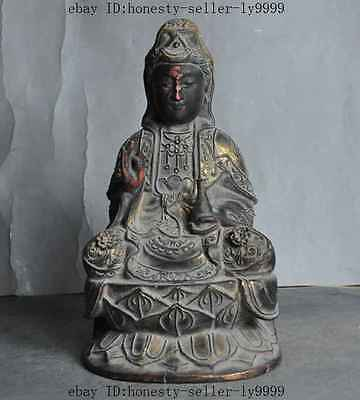 "9"" Chinese buddhism old Wood Hnad-carved Kwan-Yin Guan Yin goddess buddha Statue"