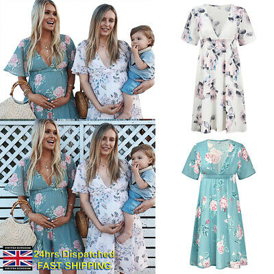 UK Maternity Dress Summer Floral Pregnancy Breastfeeding Casual Dress Size 8-16