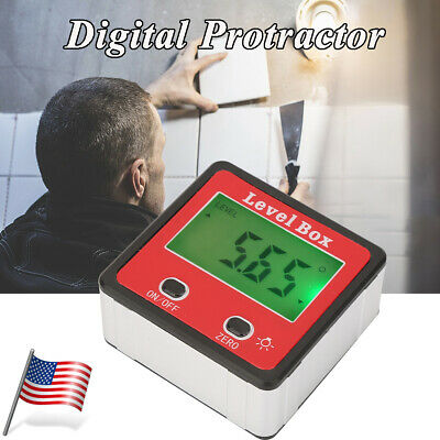 Digital LCD Protractor Gauge Angle Finder Bevel Level Box Inclinometer Meter