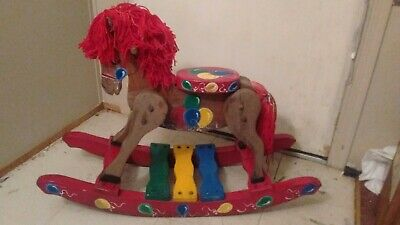 Wooden Rocking Horse Vintage colorful Childs signed by John T Sprankell