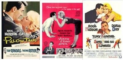 Doris Day Rock Hudson 3 Movies ~ Pillow Talk ~  Lover Come Back ~ Send no FLower