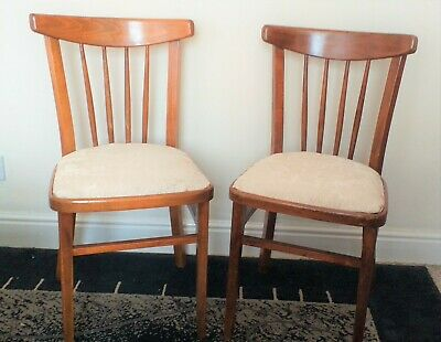 Pair Of Antique Solid Wood Spindle Back Hallway Bedroom Occasional Chairs