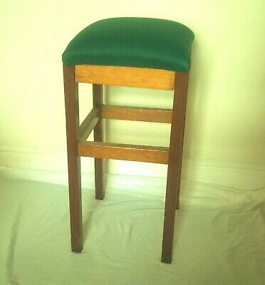 Retro Vintage 1970'S Solid Wood Pine Bar Stool Occasional Stool With Padded Seat