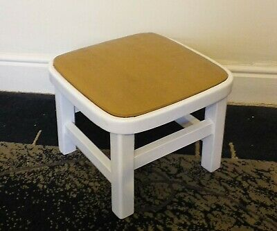 Retro Vintage 1970'S Solid Wood Footstool Childrens Stool With Padded Vinyl Seat