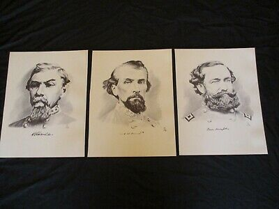 3 Civil War Confederate General's - Nathan Bedford Forrest, Hardee & Hampton