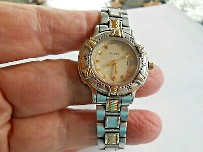 Authentic   Fossil  Women's Silver  & Gold Tone Analog Watch  Used