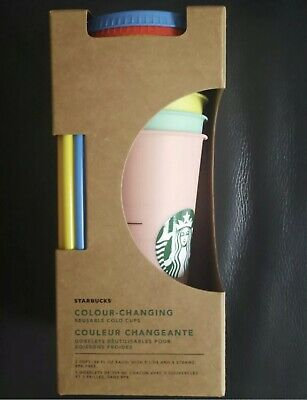 Starbucks Color Changing Reusable Cold Cups 5 Pack 24oz New 2019