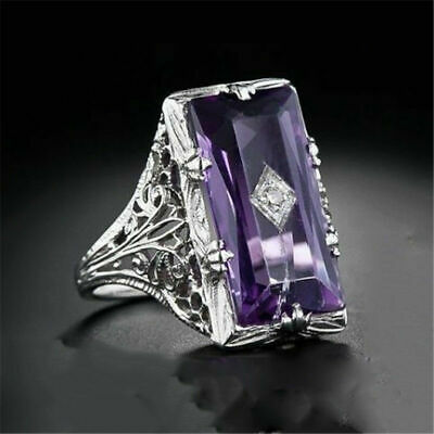 Huge Square Cut Amethyst Women 925 Silver Ring Jewelry Princess Engagement Ring