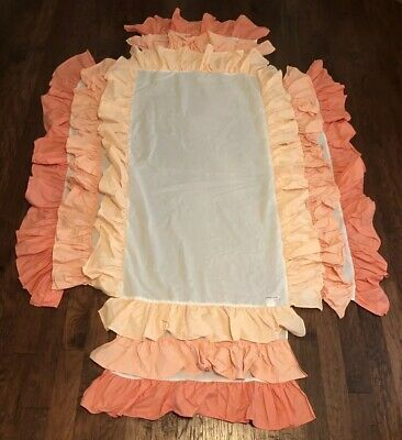 Caden Lane Coral Gradient Ruffled Bed Crib Skirt Dust Ruffle Tiered Ombre Cotton
